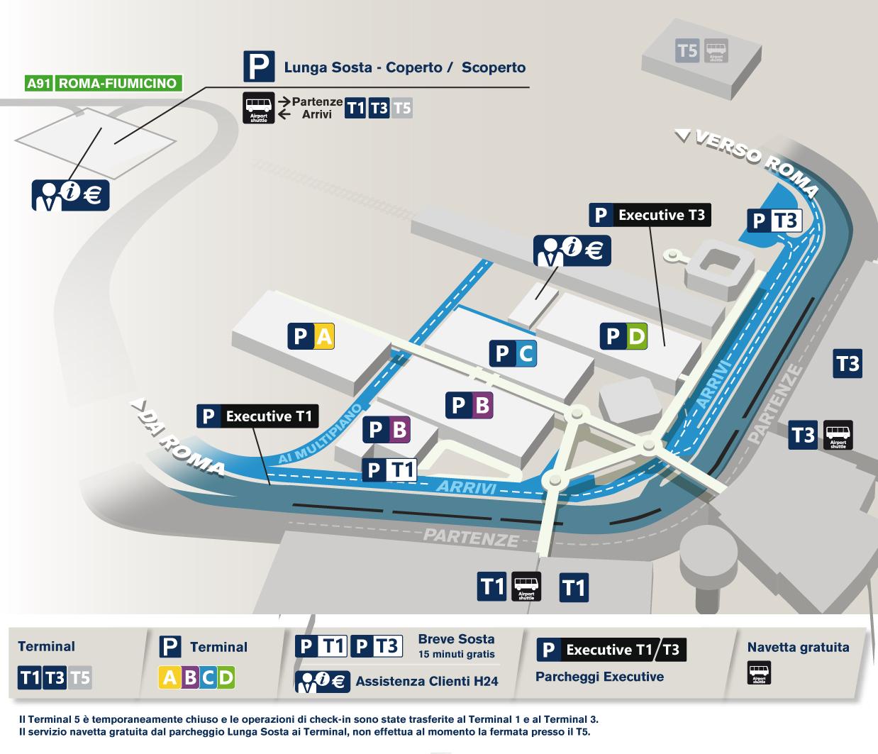 Mappa Semplificata Parcheggi Aeroporto Di Fiumicino Adr