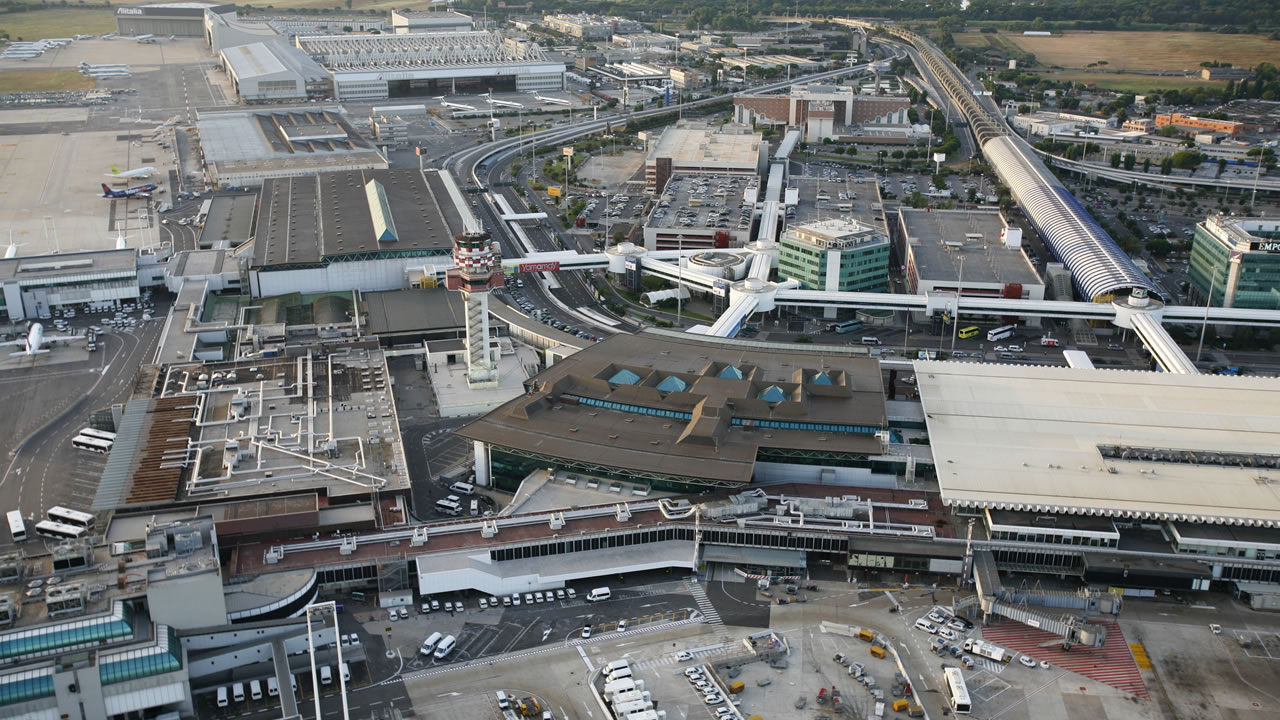 Aerial view of the whole Rome-Fiumicino airport.